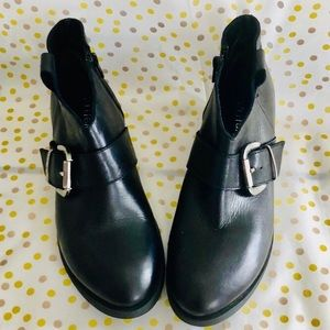 """Anthropologie Shoes - Anthropologie """"Ethem"""" black leather buckle boot 7"""